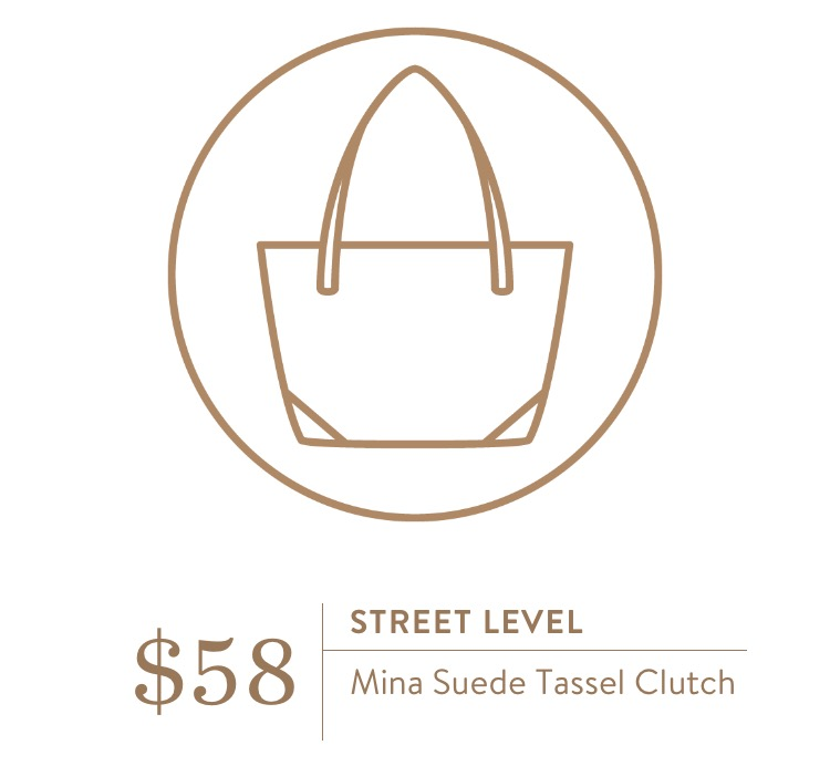 Stitch Fix Street Level Mina Suede Tassel Clutch - TheFebruaryFox.com