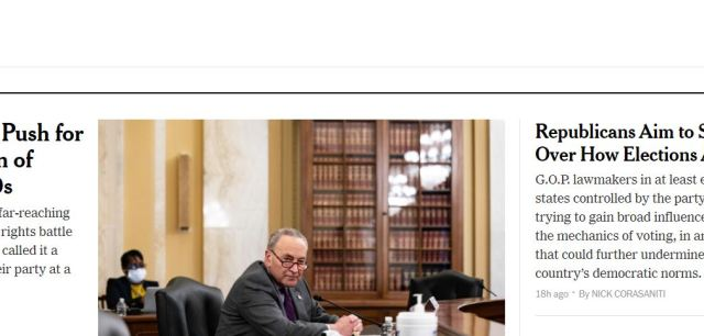 The New York Times' Politics Page, March 25, 2021.