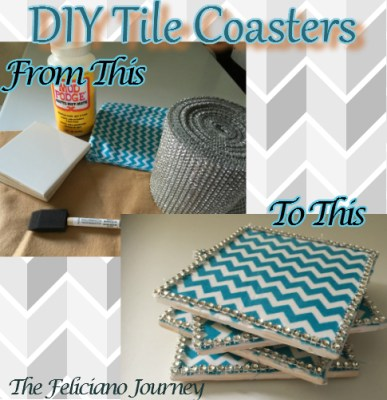 Diy Bling Fabric Tile Coasters