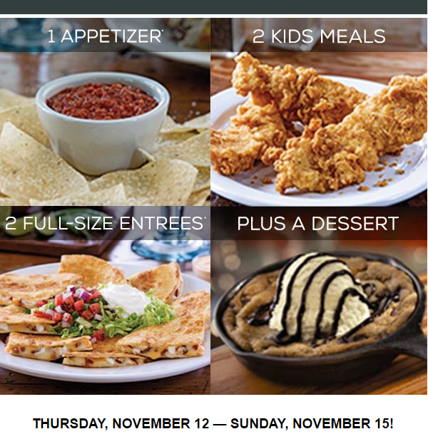 Chilis $30 Family Feast (starting today)
