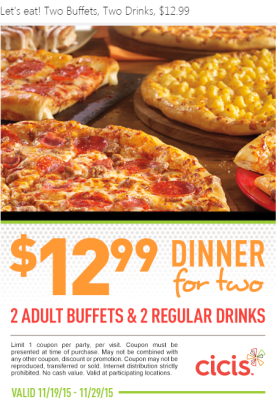 Cicis Pizza deal for 2 – 2 buffets – 2 drinks for $12.99