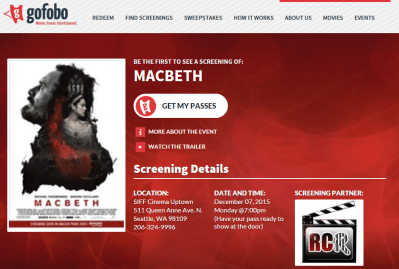 Hurry and get your MACBETH passes for (Seattle)