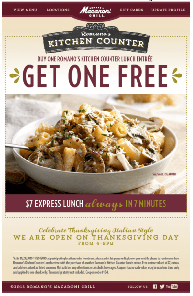 Macaroni Grill BOGO Lunch Entree ends today