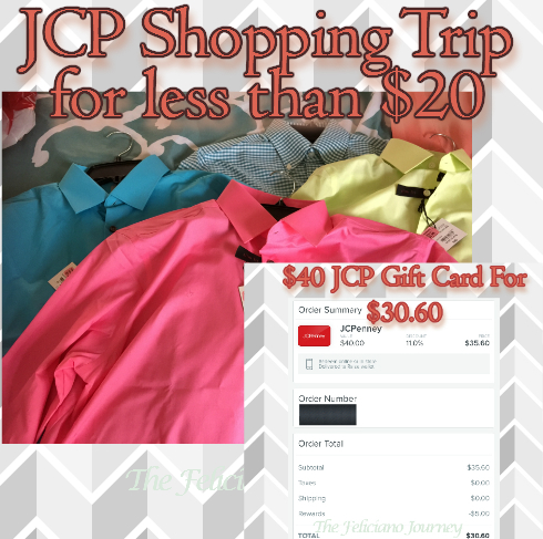 JcPenney Shopping Trip less than $20 & how I got a $40 gc for $30.60