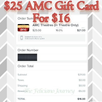 $25 AMC Gift Card but I paid $16