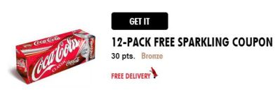 My Coke Rewards Free 12 pack coke coupon for 30 pts