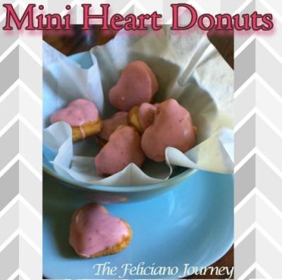 Mini Heart Donuts with Strawberry Glaze