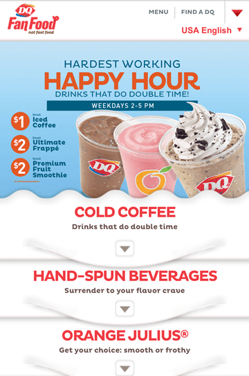 DQ – Happy Hour (Iced Coffee, Frappe & Smoothies)