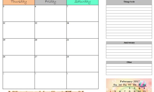 2017 Free Monthly Printable (January – July) (Portrait option)