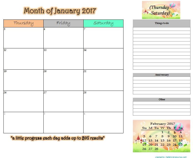 January 2017 Monthly Planner Printable (2 printing options included)