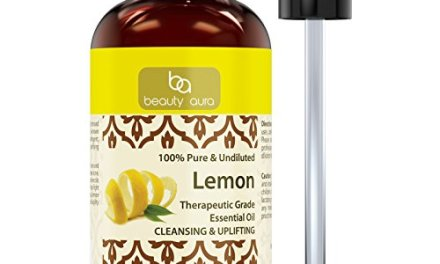Beauty Aura 100% Pure Lemon Essential Oil – 4 oz * Made from Real Lemon peels * Ideal for Aromatherapy & for DIY Products
