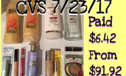 CVS Shopping Trip 7/23/17 (Paid $6.42 out of $91.92)