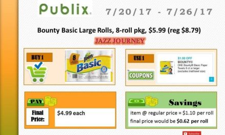 Publix: (ends today) Bounty 8 roll – as low as $4.99 ($0.62 p/roll)