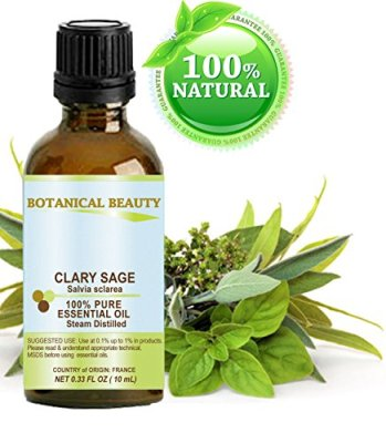 Botanical Beauty Clary Sage Essential Oil, 100% Pure, Steam Distilled, 0.35 oz-10 ml