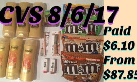 CVS Shopping Trip 8/6/17 (Paid $6.10 out of $87.85)