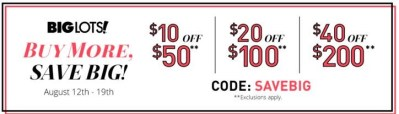 Big Lots: new coupon $10 Off a $50 Purchase (ends 8/19)