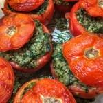 Pesto Spinach & Quinoa Stuffed Tomatoes