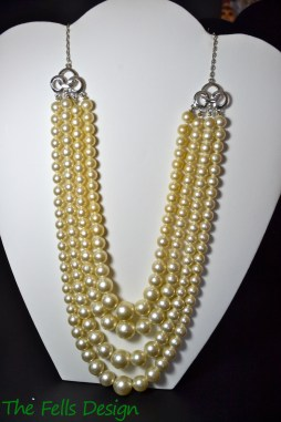 Repurposed costume pearl multi-strand necklace