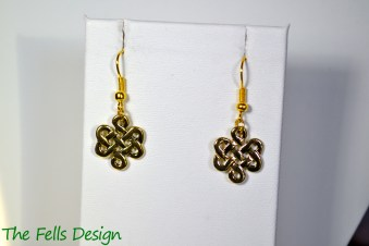 Infinity knot gold charm earrings