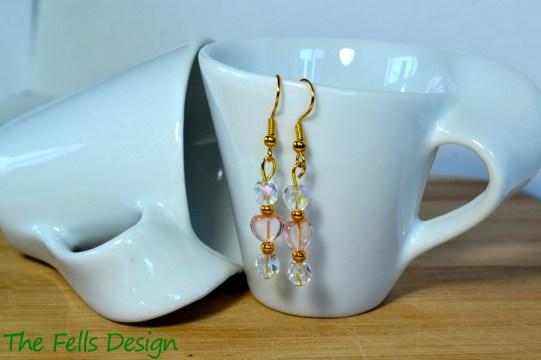 Pink heart and crystal Czech glass beaded earrings
