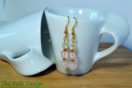 Rose quartz and pink heart Czech glass beaded earrings