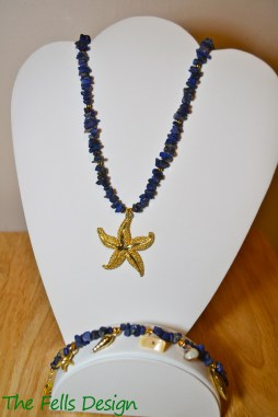 Blue gemstone beaded necklace and bracelet with gold marine charms and a large starfish pendant