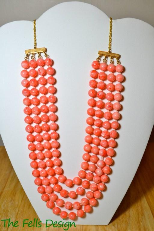 Repurposed costume coral colored multi-strand necklace
