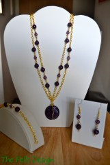 Repurposed purple beads and hand wrapped purple glass pendant with gold chain for multi-strand necklace set
