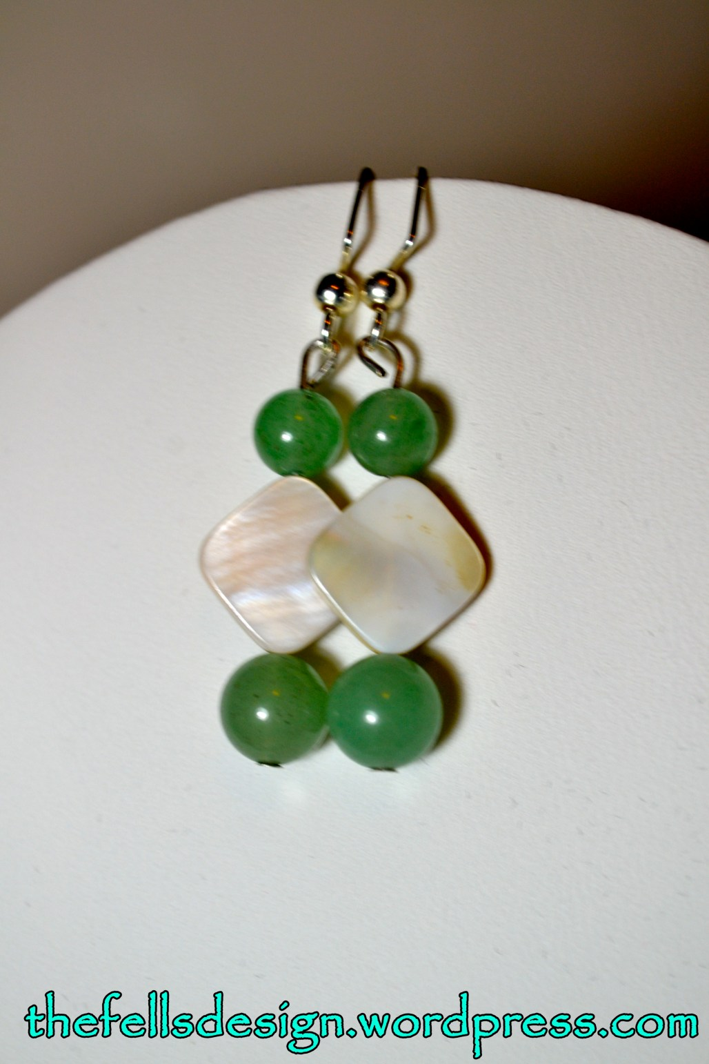 Green jade and mother of pearl beaded earrings