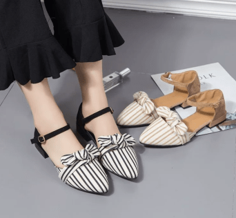Striped Sandals With Ankle Strap
