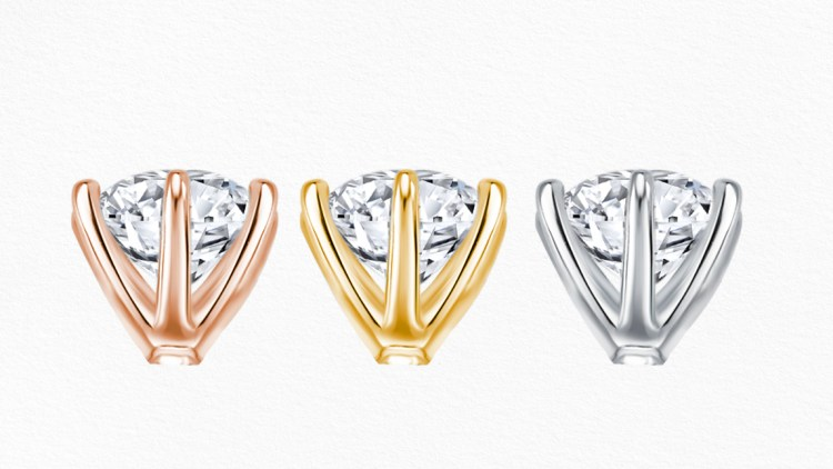 Love & Co. prong in different material of rose gold, yellow gold, and white gold.