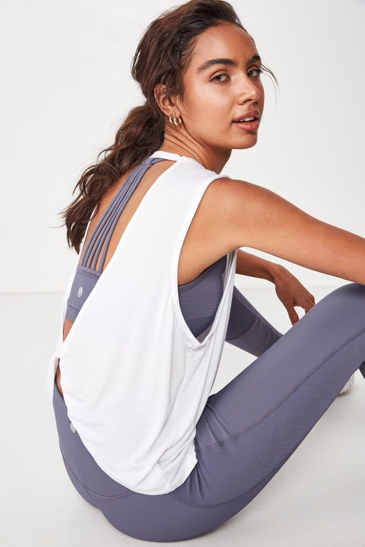 Cotton On Open Twist Back Sports Fitness Workout Tank Top