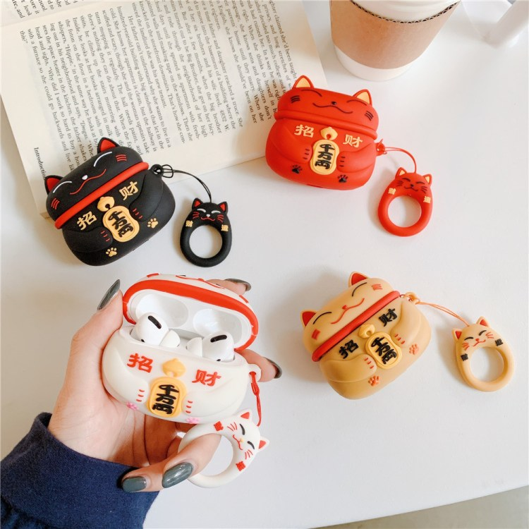 Fortune cat AirPods Pro case in red, white, black and brown