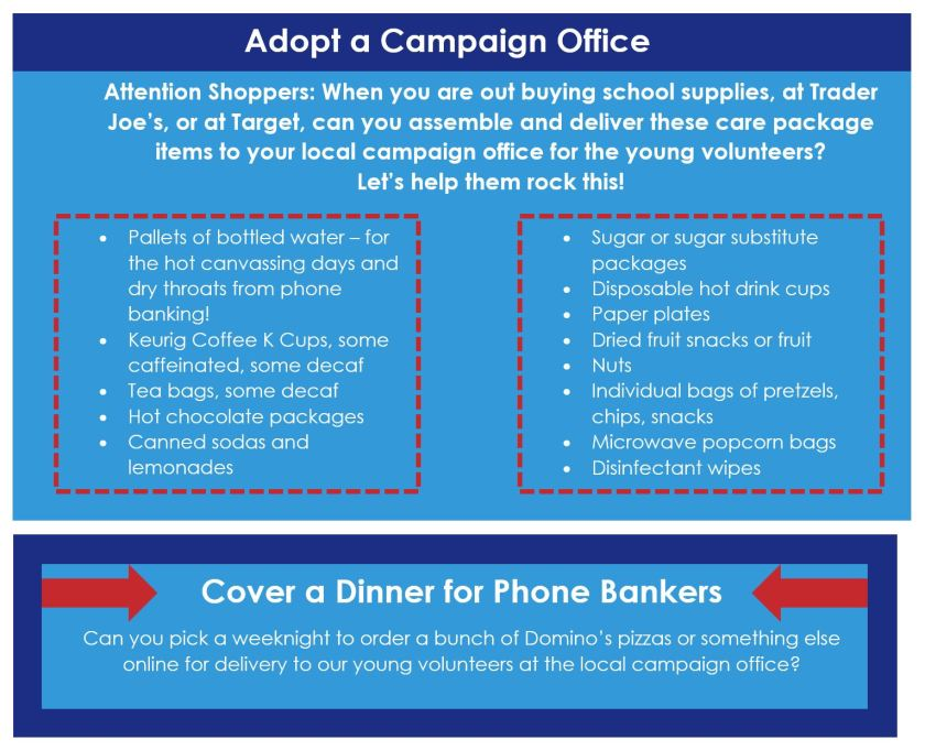 Ideas on what to contribute to your local campaign office, courtesy of Moms4HRC