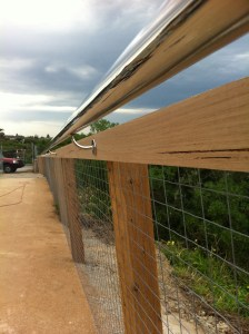 timber and stainless steel combination fence