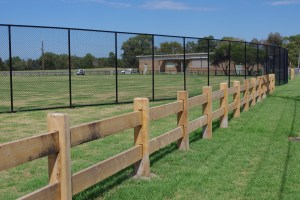 post and rail fence, chainwire fence, cyclone fence,
