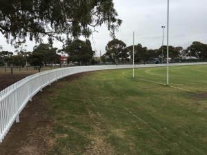 steel picket fence, oval fence, sportsground fence