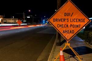 Photo showing DUI checkpoint ahead