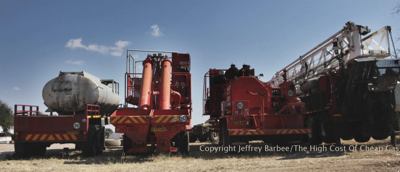 Kalahari Energy fracking trucks in Botswana, near the Khama Rhino Sanctuary.