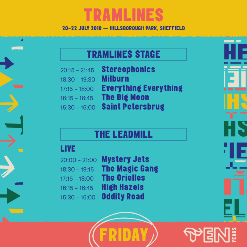 Tramlines 2018 Friday Stage Times Line-up Poster