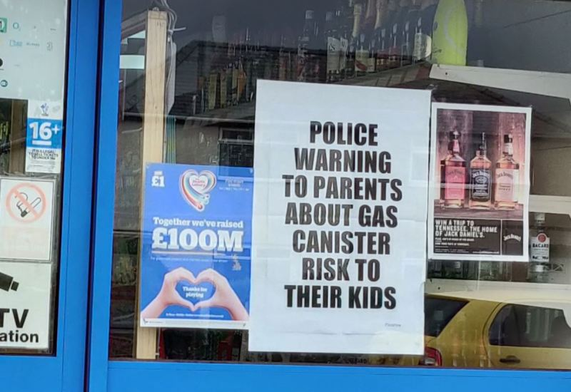 Police nitrous oxide newspaper warning headline