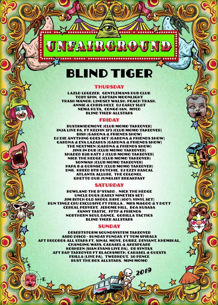Glastonbury 2019 Blind Tiger line-up poster