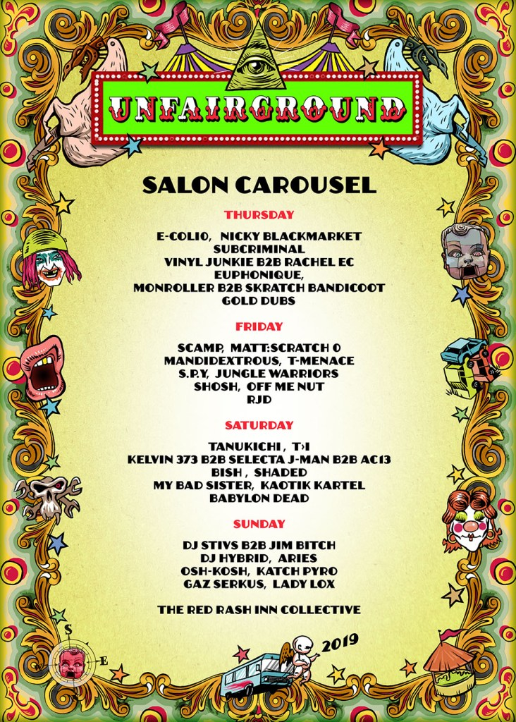 Glastonbury 2019 Unfairground Salon Carousel line-up poster