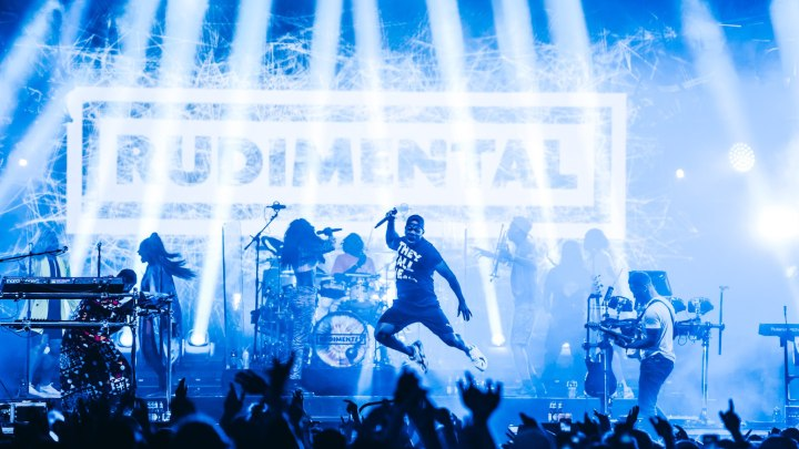 Rudimental on stage jumping at NASS Festival 2019