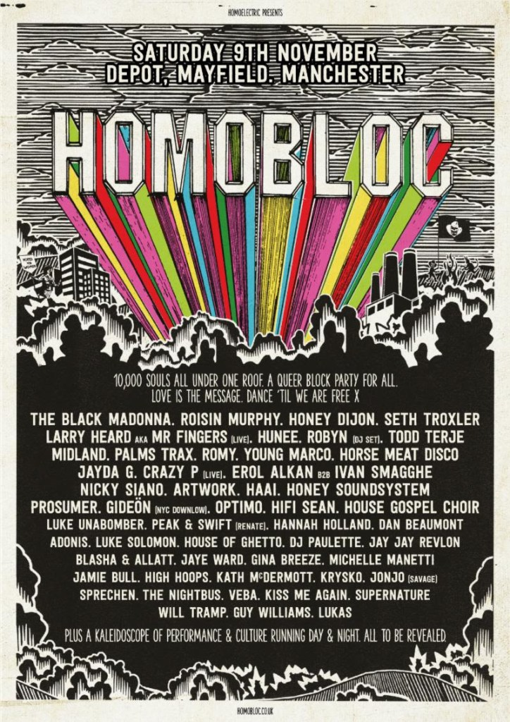 Homobloc Festival Line-up Poster by Homoelectric at Manchester Mayfield