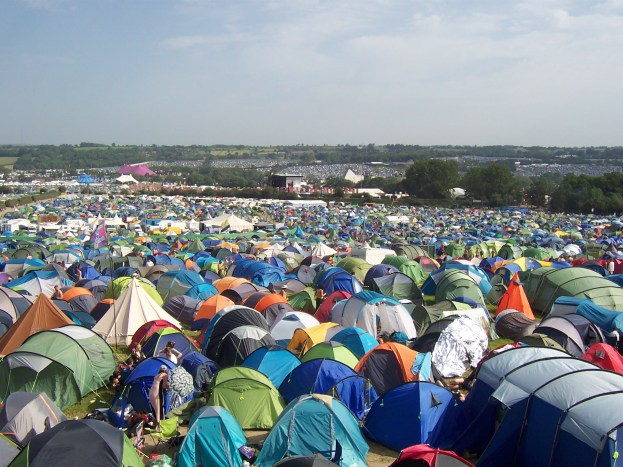 Pennard Hill Ground campsite at Glastonbury viewed from the pier