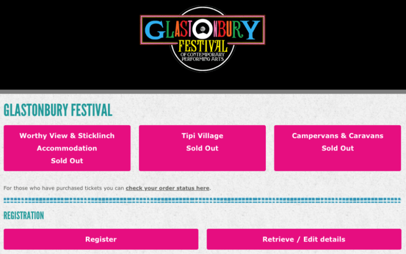 Glastonbury glamping sold out page