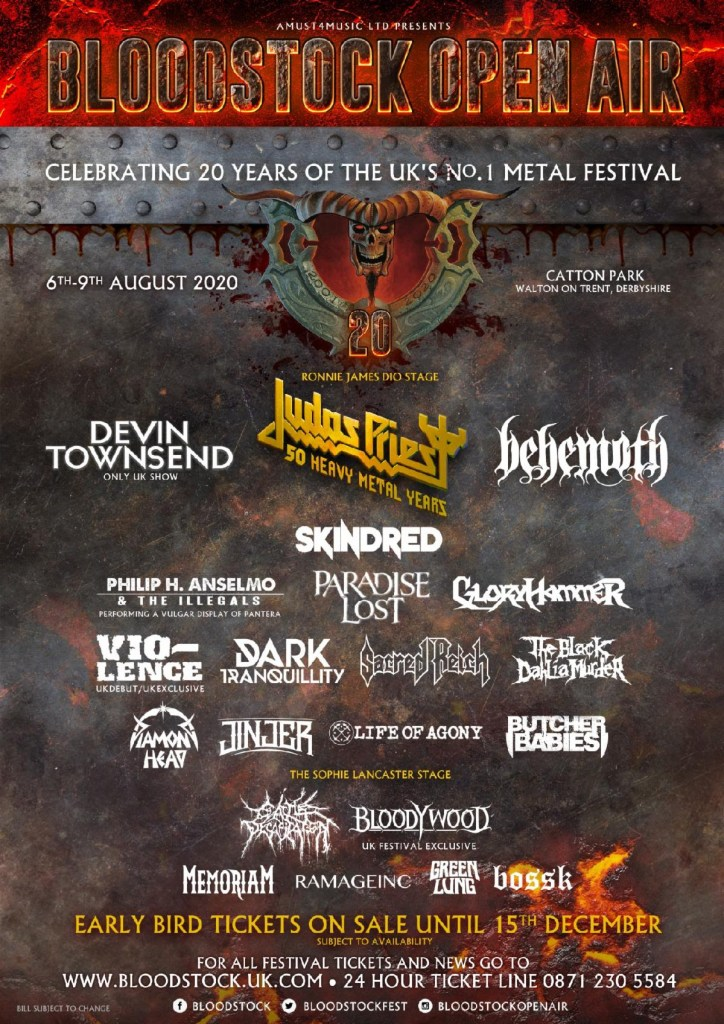 Bloodstock 2020 line-up poster with Sophie Lancaster stage