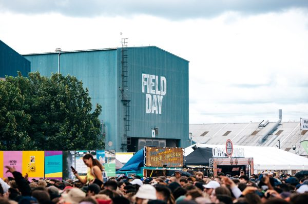 Field Day festival sign crowd