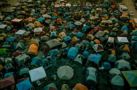 Sleeping in a festival campsite with earplugs